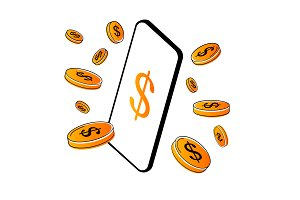Smartphone with coins Vector