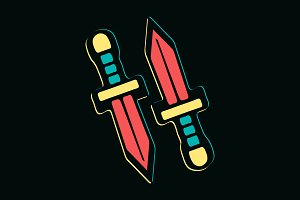 Two isolated colorful swords vector