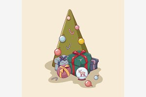 Christmas tree and gifts scene