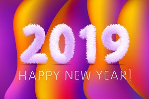 2019 happy New Year colorful line