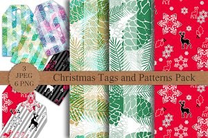 Christmas Tags and Seamless Patterns