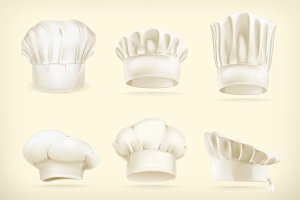 White chef hats vector icons