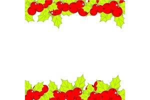 Christmas holly ilex frame, border