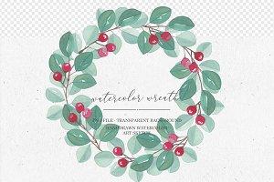 Watercolor Wreath Eucalyptus