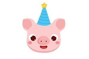 Cute cartoon pig face