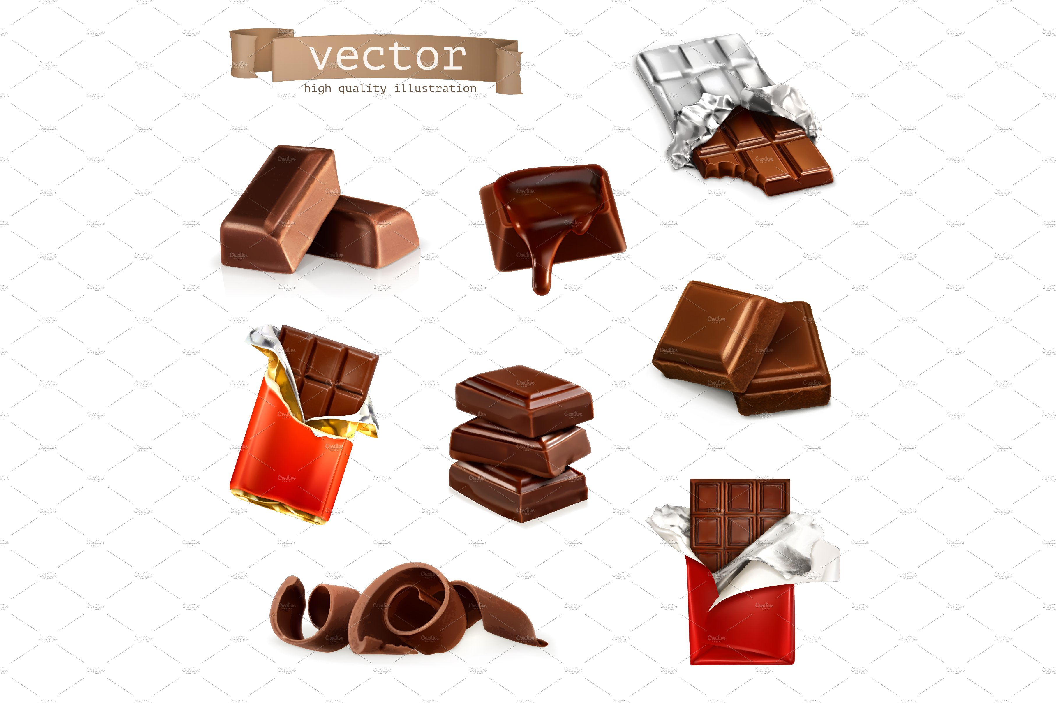 Chocolate Bars And Pieces Icons Creative Market