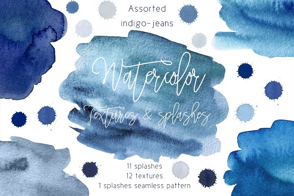 Blue watercolor textures & splashes