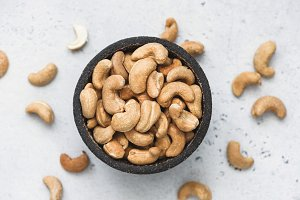 Cashews in bowl