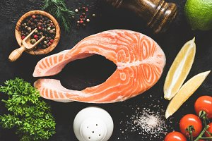 Salmon steak, spices and vegetables