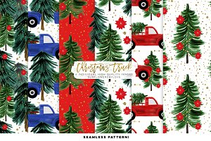 Watercolor Christmas Digital Paper,