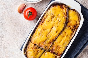 Traditional Greek moussaka with