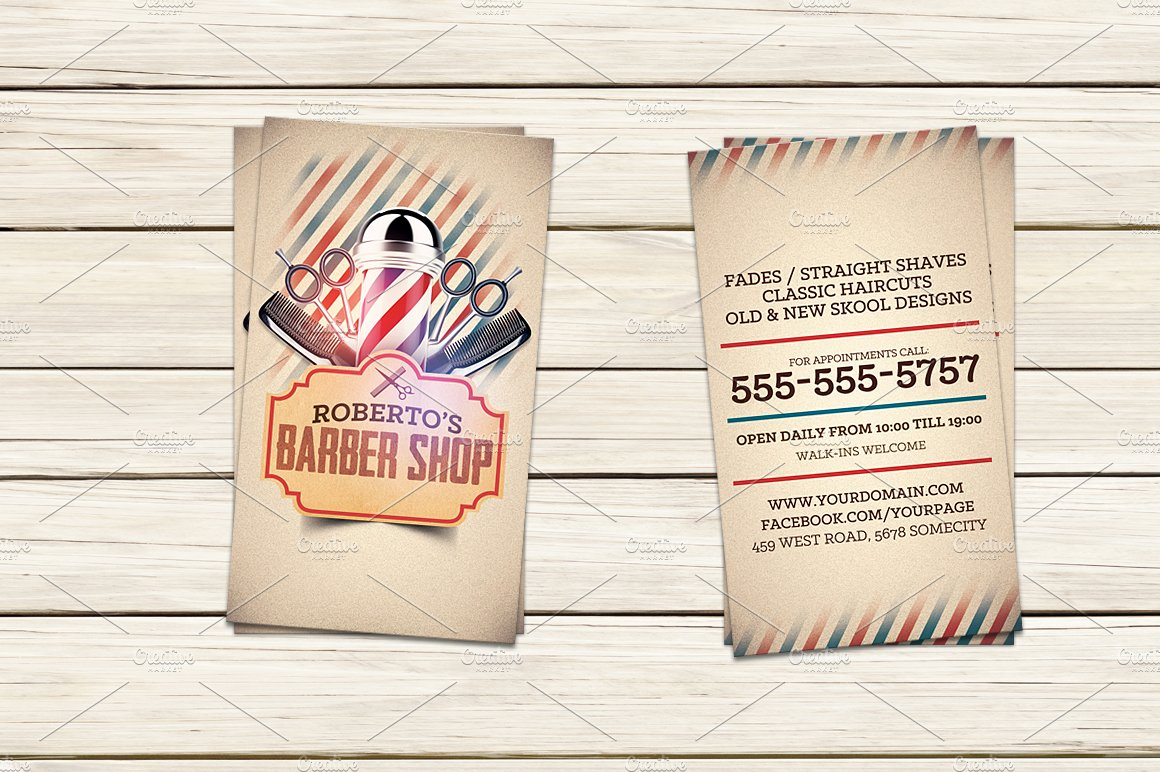Barber shop business card template business card templates barber shop business card template business card templates creative market cheaphphosting Images