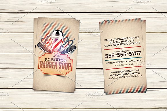 Barber Business Card Template Cards