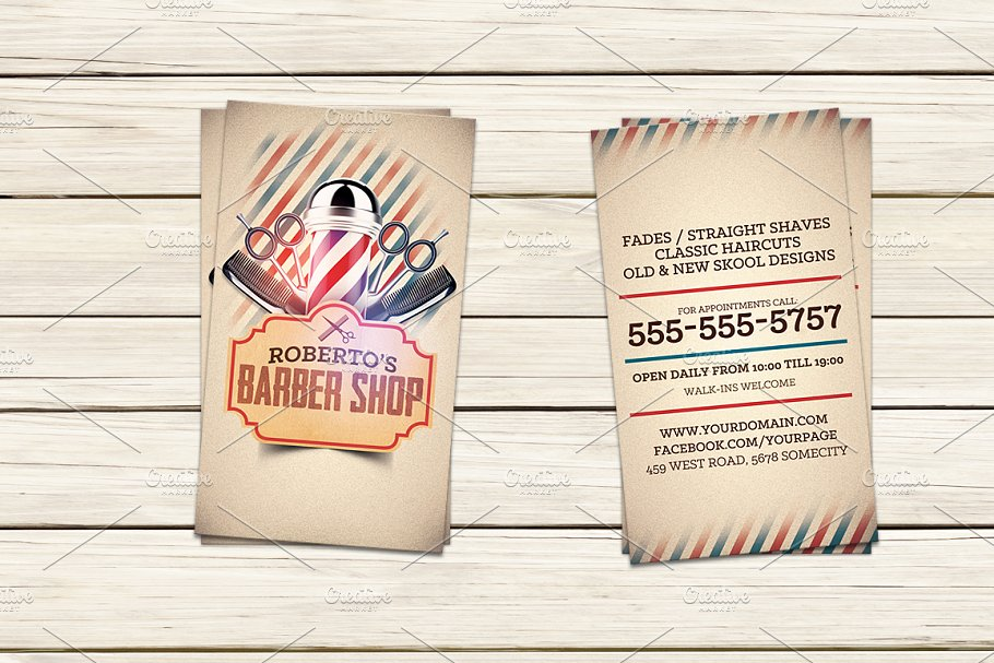 Barber shop business card template business card templates barber shop business card template colourmoves
