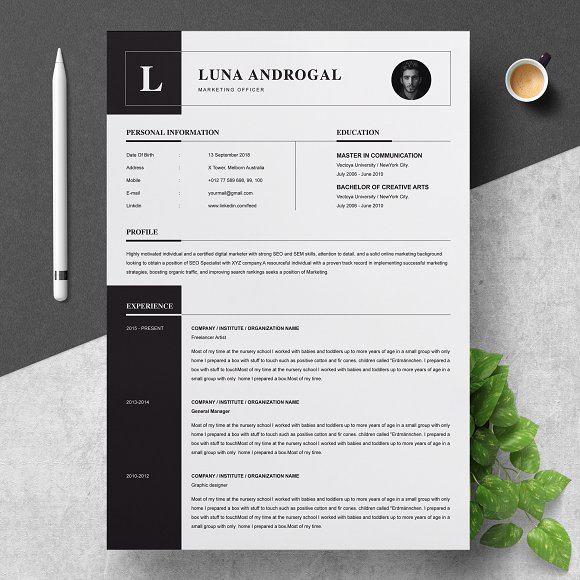 curriculum vitae cv template resume templates creative market