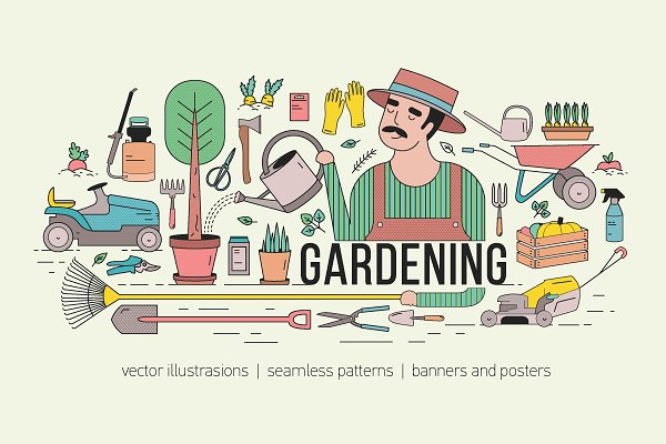 Illustrations and Illustration Products: Good_Studio - Gardening bundle and seamless
