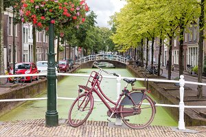 Delft city view in the Netherlands
