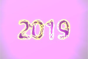 Happy New Year Banner with 2019