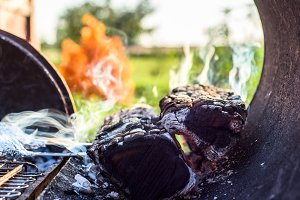 Smoke wood coals