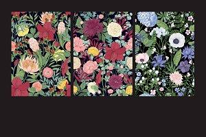 Trendy flowers seamless patterns
