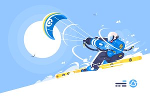 Boy snowkiter on alpine skiing
