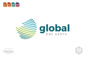 Global One Earth Logo Template