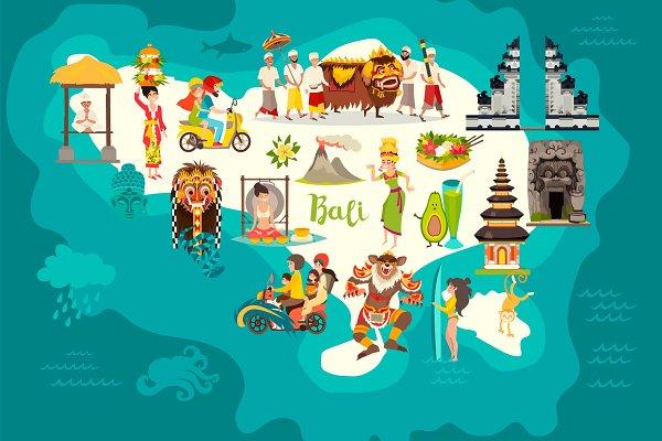 Bali Map And Bali Set Art Illustrations Creative Market