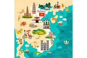 Vietnam map and Vietnam set art