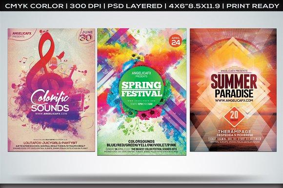 colorful flyers bundle vol 2 flyer templates creative market