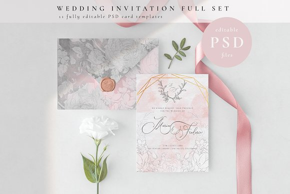 Wedding Invition Cards.Wedding Invitation Full Set Psd