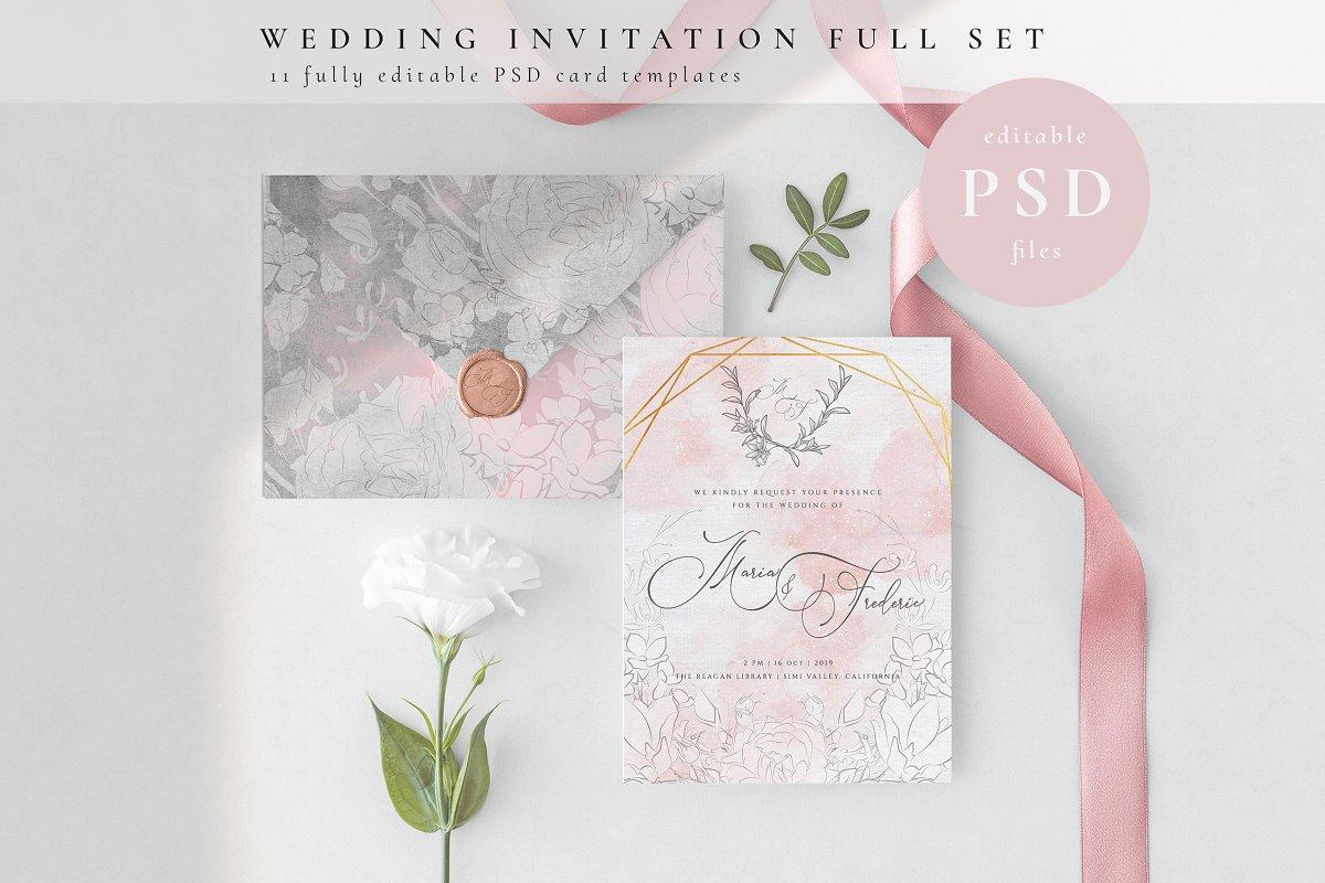 Wedding Invitation Full Set PSD Templates Creative Market