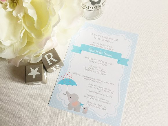 Elephant Baby Shower Invitation Invitation Templates Creative Market