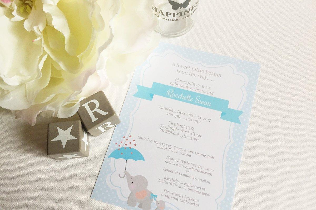 Elephant Baby Shower Invitation Invitation Templates Creative Market