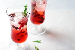 Cranberry Cocktail with Ice and Rose