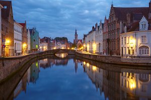 Old town at night, Bruges, Belgium