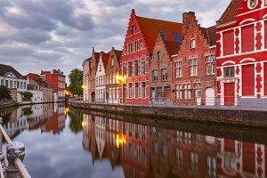 Bruges canal at twilight, Belgium