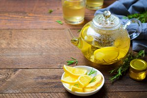 Healthy Ginger Tea with Lemon and Ro