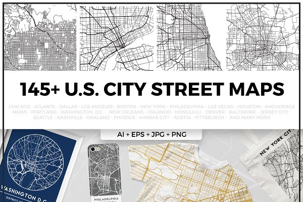 US City Street Map Bundle