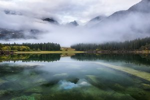 Fusine lakes on a calm autumn day