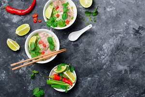 Traditional Vietnamese Soup Pho Bo w