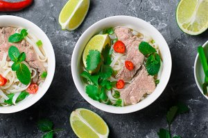 Traditional Vietnamese Soup Pho Bo w