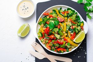 Fresh Vegetable Salad, Healthy Vegan