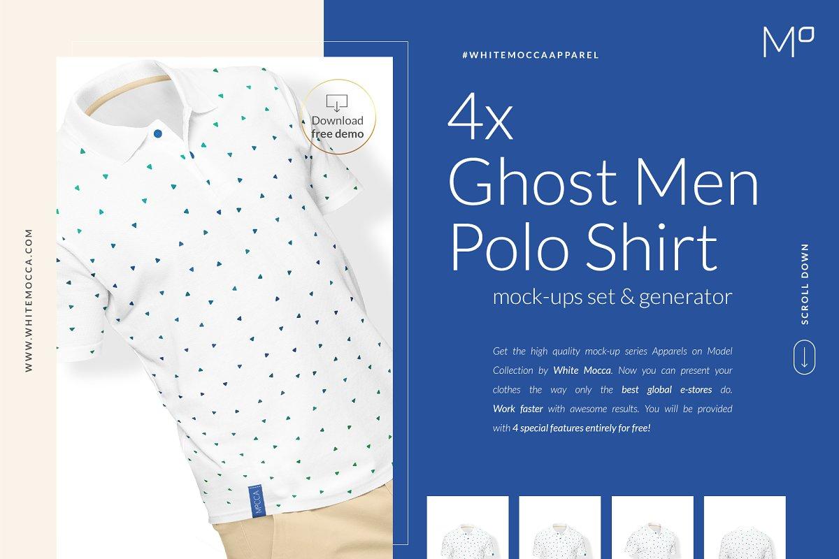 c6f02568 Ghost Men Polo Shirt Mock-ups DEMO ~ Product Mockups ~ Creative Market