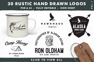 30 Rustic Hand Drawn Logos, Vol. 1