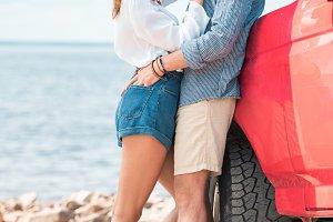beautiful young couple embracing nea