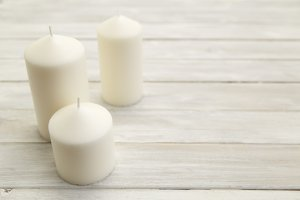 Candles placed on wooden