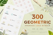 300 Geometric Premade Logo Bundle