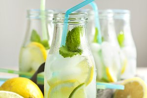 Lemonade in glass bottle