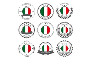 Made in Italy, seals, badges. Vector