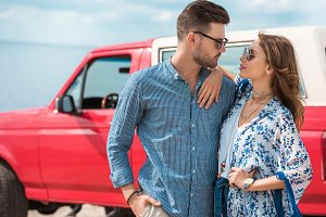 young stylish couple in sunglasses h